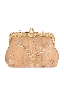 Gold French Knot Embroidered Clutch by Vareli Bafna Designs