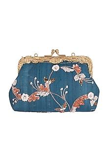Teal Blue Floral Embroidered Clutch by Vareli Bafna Designs