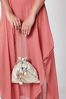 Silver Embroidered Potli Bag by Vareli Bafna Designs