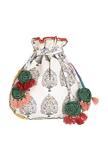 White Embroidered & Printed Potli Bag by Vareli Bafna Designs
