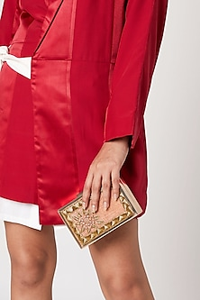 Onion Pink Embroidered Sling Clutch by Vareli Bafna Designs