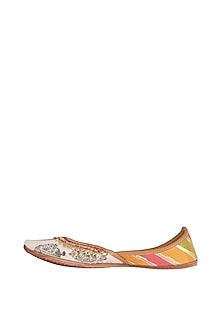 White Printed Cotton Satin Juttis by Vareli Bafna Designs