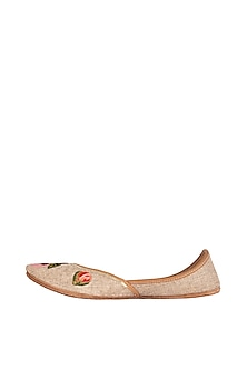 Beige Embroidered Jute Juttis by Vareli Bafna Designs