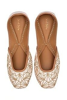 White Embroidered Raw Silk Juttis by Vareli Bafna Designs