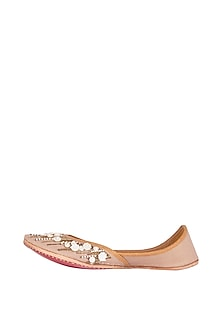 Blush Pink Embroidered Juttis by Vareli Bafna Designs