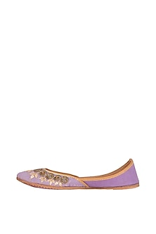Purple Cutdana Embroidered Juttis by Vareli Bafna Designs