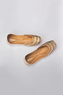 Gold Zari Embroidered Juttis by Vareli Bafna Designs