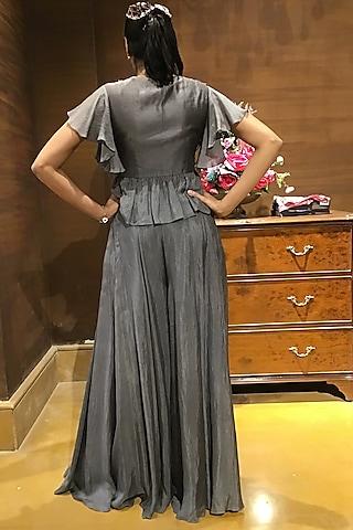 Grey Embroidered Jacket Set by Varun Bahl