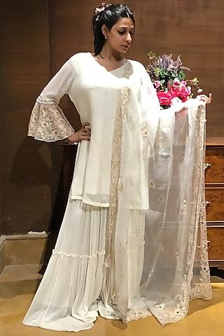 Ivory Sharara Set by Varun Bahl