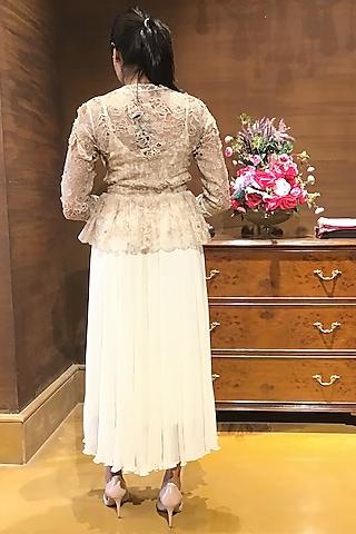 Ivory Embroidered Jacket Set by Varun Bahl