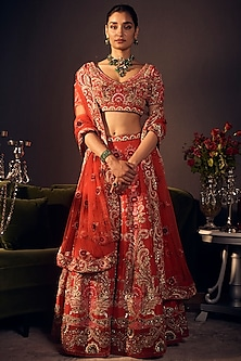 Red Hand Embroidered Lehenga Set by Varun Bahl