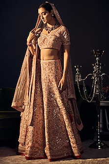 Pale Pink Embroidered Lehenga Set by Varun Bahl