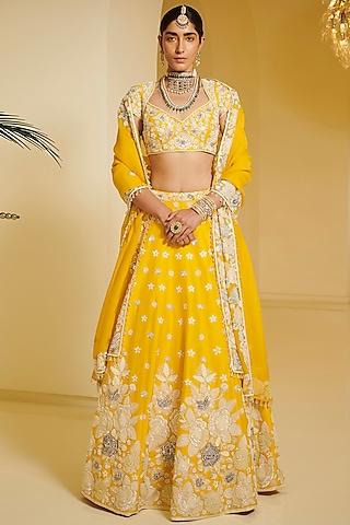 Yellow Embellished Kalidar Lehenga Set by Varun Bahl