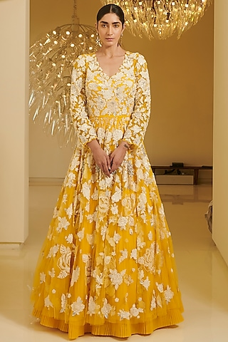 Yellow Embroidered Gown by Varun Bahl