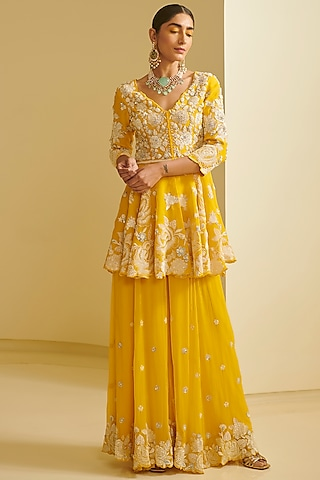 Yellow Embroidered Sharara Set by Varun Bahl