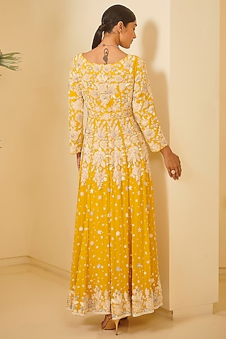 Yellow Embroidered Anarkali Set by Varun Bahl