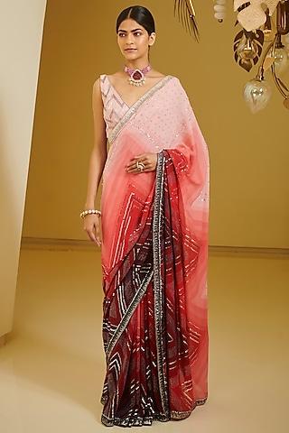 Maroon & Pink Embroidered Saree Set by Varun Bahl