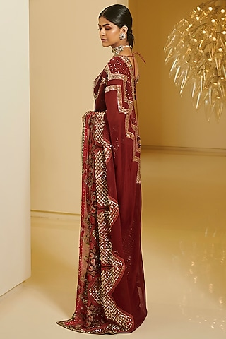 Maroon & Pink Printed Saree Set by Varun Bahl