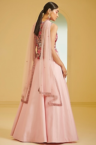 Pink Embroidered Skirt Set by Varun Bahl