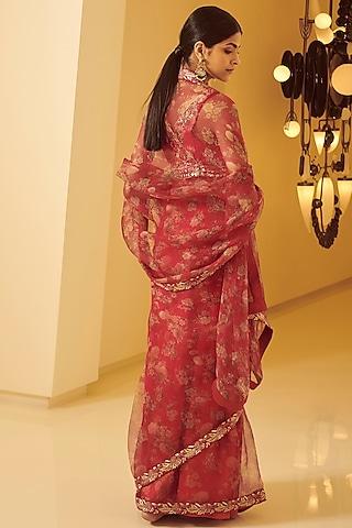 Fuchsia Embroidered Saree Set by Varun Bahl