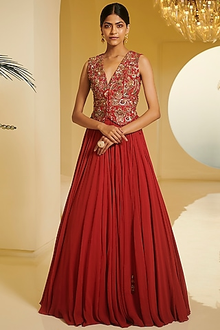 Red Embroidered Skirt Set by Varun Bahl
