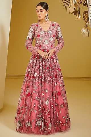 Pink Embroidered Gown by Varun Bahl