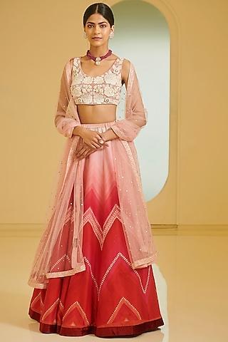 Pink Embroidered Lehenga Set by Varun Bahl