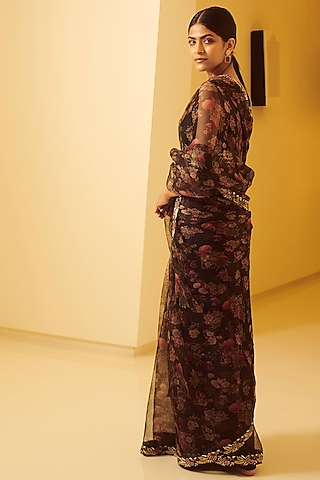 Black Embroidered Saree Set by Varun Bahl