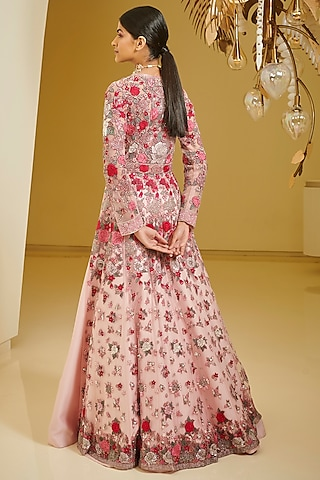 Pink Thread Embroidered Lehenga Set by Varun Bahl