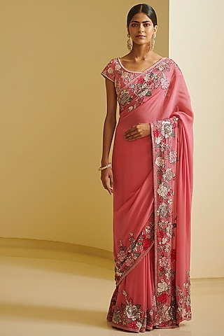 Pink Embroidered Saree Set by Varun Bahl