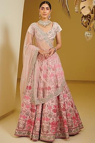 Pink Embellished Kalidar Lehenga Set by Varun Bahl