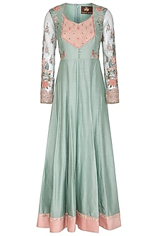 Duckegg & Peach Embroidered Anarkali Set by Varun Bahl Pret
