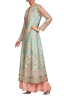 Duckegg Embroidered Jacket With Peach Sharara Pants by Varun Bahl Pret