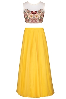 Yellow Lehenga Skirt With Blouse by Varun Bahl Pret