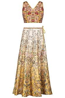 Yellow Embroidered Lehenga Set by Varun Bahl Pret