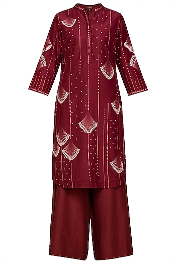 Burgundy Chanderi Kurta Set by Varun Bahl Pret