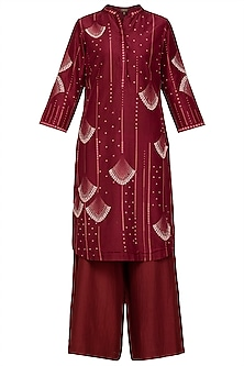 Burgundy Chanderi Kurta Set by Varun Bahl Pret