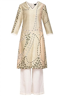 Pistachio Green Digital Printed Kurta With Pants by Varun Bahl Pret