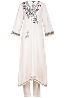 Ivory Embroidered Khadi Kurta Set by Varun Bahl Pret