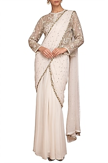 Ivory Embellished Pre-Stitched Saree Set by Varun Bahl Pret