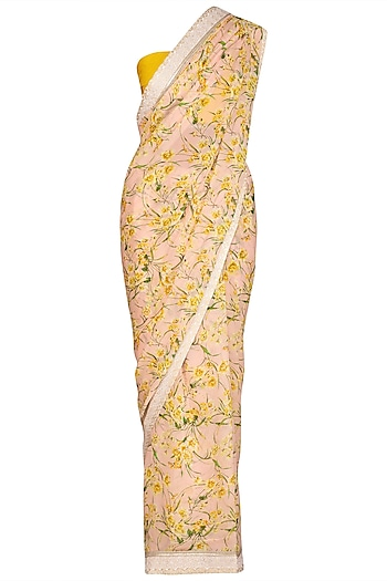 Mustard Yellow Printed Embroidered Saree Set by Varun Bahl Pret