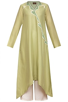 Pistachio Green Applique Kurta With Ivory Pants by Varun Bahl Pret