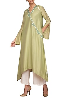 Pistachio Green Applique Kurta With Ivory Pants by Varun Bahl Pret
