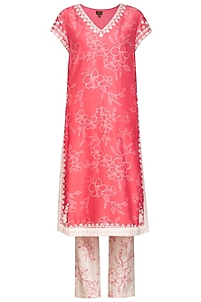 Bright Pink Digital Printed Kurta Set by Varun Bahl Pret