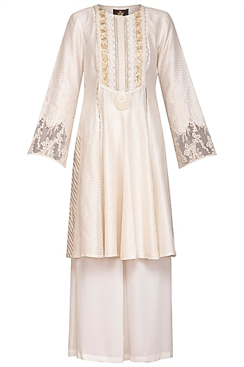 Ivory Mukaish Embellished Kurta Set by Varun Bahl Pret
