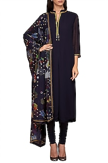 Navy Blue Georgette Kurta Set by Varun Bahl Pret