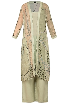Green Printed Tunic With Inner & Pants by Varun Bahl Pret