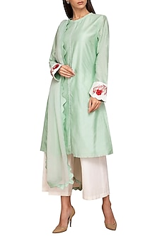 Mint Green Chanderi Kurta Set by Varun Bahl Pret