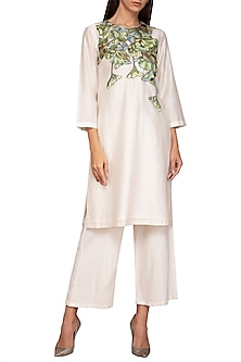 Ivory Embroidered Kurta With Pants by Varun Bahl Pret