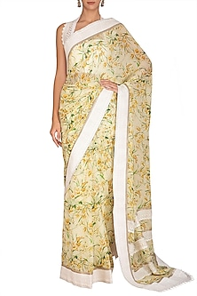 Yellow Printed Saree Set by Varun Bahl Pret